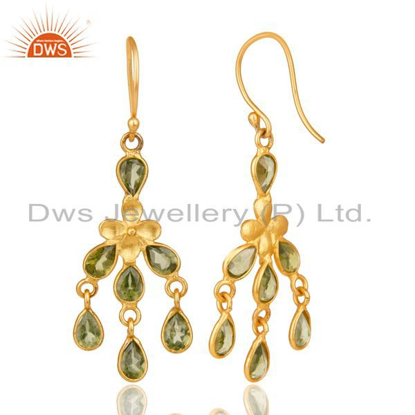 Exporter 18K Yellow Gold Plated Sterling Silver Peridot Gemstone Chandelier Earrings