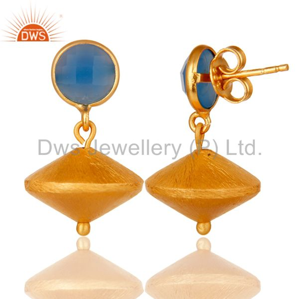 Exporter 24K Yellow Gold Plated Sterling Silver Matte Blue Chalcedony Dangle Earrings