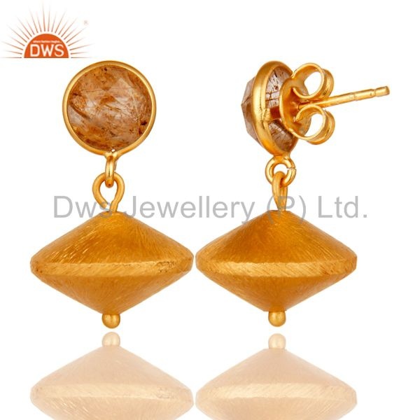 Exporter Rutilated Quartz 24K Yellow Gold Plated Sterling Silver Dangle Earrings