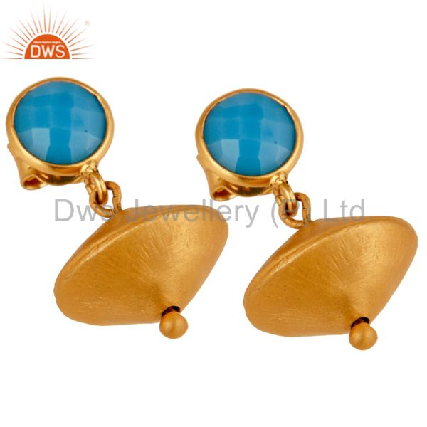Exporter Turquoise Cultured 24K Yellow Gold Plated Sterling Silver Matte Dangle Earrings