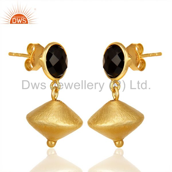 Exporter Black Onyx Post Stud Gold Plated 92.5 Sterling Silver Bead Hanging Earring