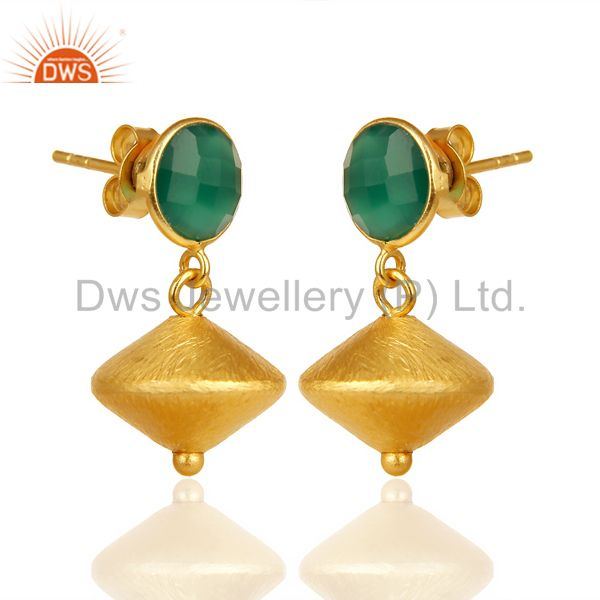 Exporter Green Onyx Post Stud Gold Plated 92.5 Sterling Silver Bead Hanging Earring