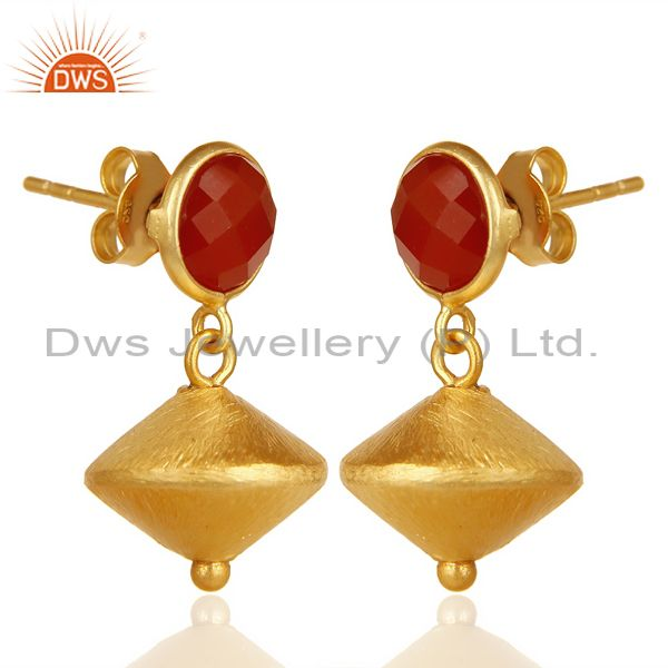 Exporter Red Onyx Post Stud Gold Plated 92.5 Sterling Silver Bead Hanging Earring