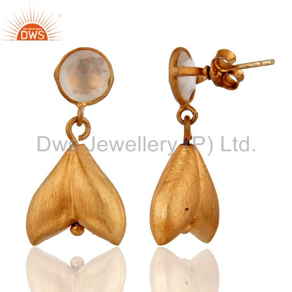 Exporter Brushed Satin Finish 925 Sterling Silver Gold Plated Chacedony Dangle Earrings