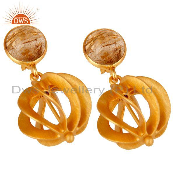 Exporter 24K Yellow Gold Plated Sterling Silver Yellow Rutile Designer Dangle Earring
