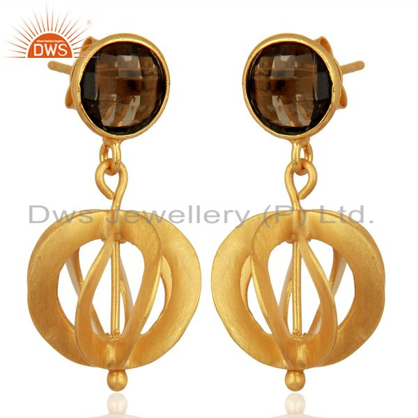 Manufacturer of 24K Yellow Gold Plated Sterling Silver Smoky Quartz Designer Dangle Earrings