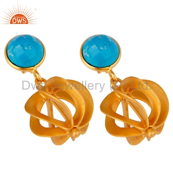 Exporter Turquoise 24K Yellow Gold Plated Sterling Silver Designer Dangle Earring
