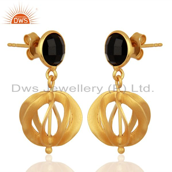 Exporter Black Onyx Gemstone Filigree Ball Sterling Silver 18k Gold Plated Dangle Earring