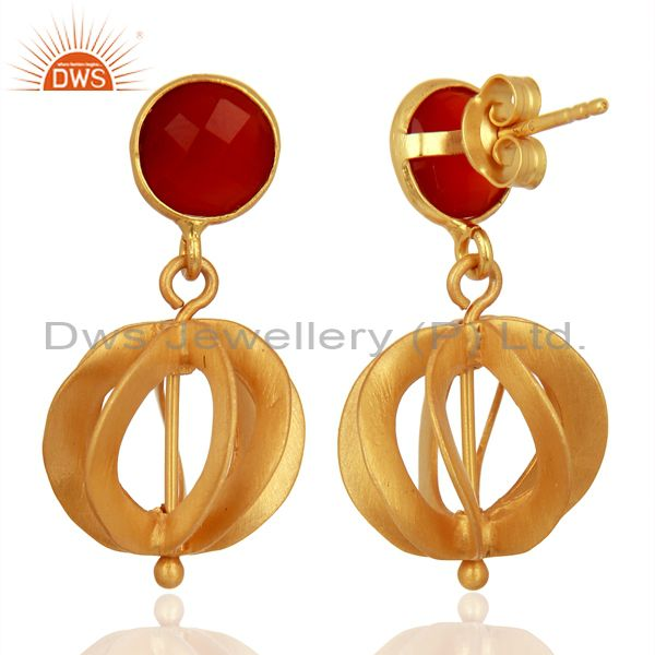 Exporter Red Onyx Gemstone Filigree Ball Sterling Silver 18k Gold Plated Dangle Earring