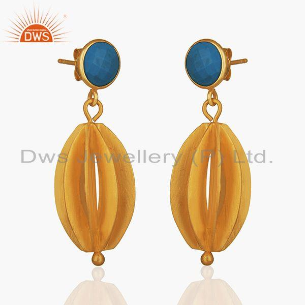 Exporter Blue Chalcedony Gemstone Gold Plated 925 Silver Drop Earring Wholesale