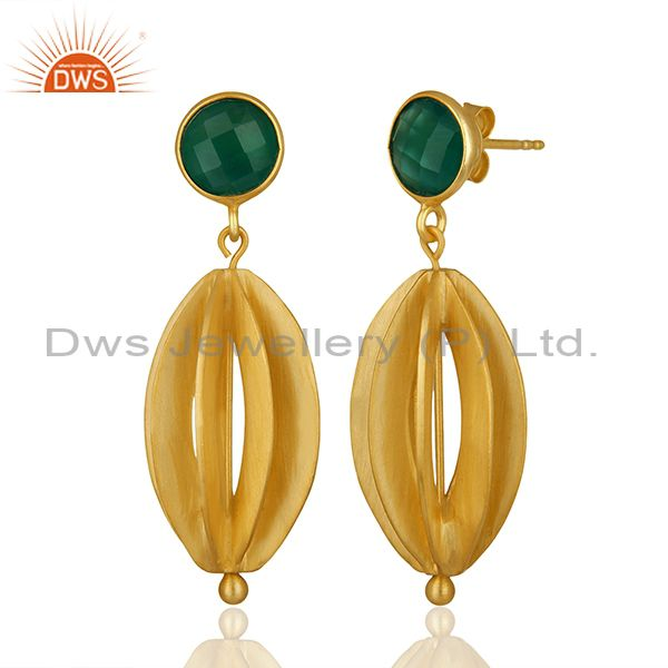 Exporter Checkerboard Green Onyx Gemstone Silver Dangle Earring Manufacturers