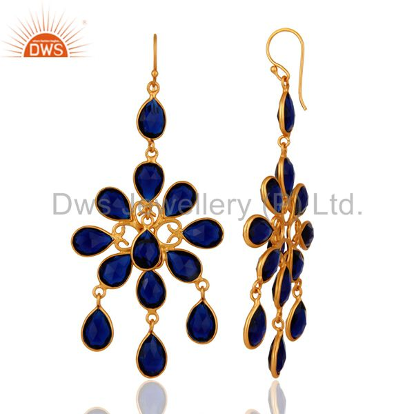 Exporter Handmade Blue Corundum 18K Yellow Gold Plated 925 Sterling Silver Earrings