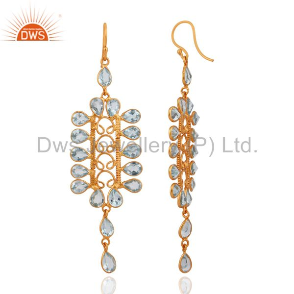Exporter Handcrafted 925 Silver Sky Blue Topaz Gemstone Gold Plated Long Dangle Earrings