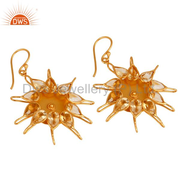 Exporter Hadnmade Citrine Gemstone 925 Sterling Silver Gemstone Earring With Gold Plated