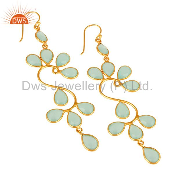 Exporter Created Aqua Blue Chalcedony Handmade Sterling Silver Earrings With Gold Plated