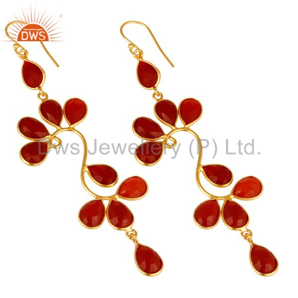 Exporter 22K Yellow Gold Plated Sterling Silver Red Onyx Gemstone Dangle Earrings