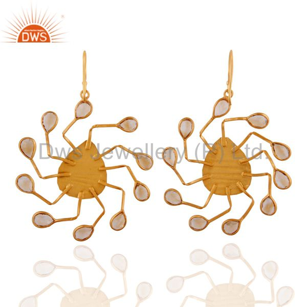 Exporter 18K Yellow Gold Plated Sterling Silver Citrine Gemstone Spider Earrings