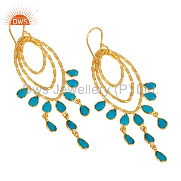 Exporter 22K Gold Plated Sterling Silver Handmade Turquoise Gemstone Chandelier Earrings