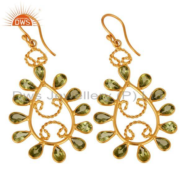 Exporter Handmade 925 Sterling Silver Peridot Gemstone Earrings With 24K Gold Plated