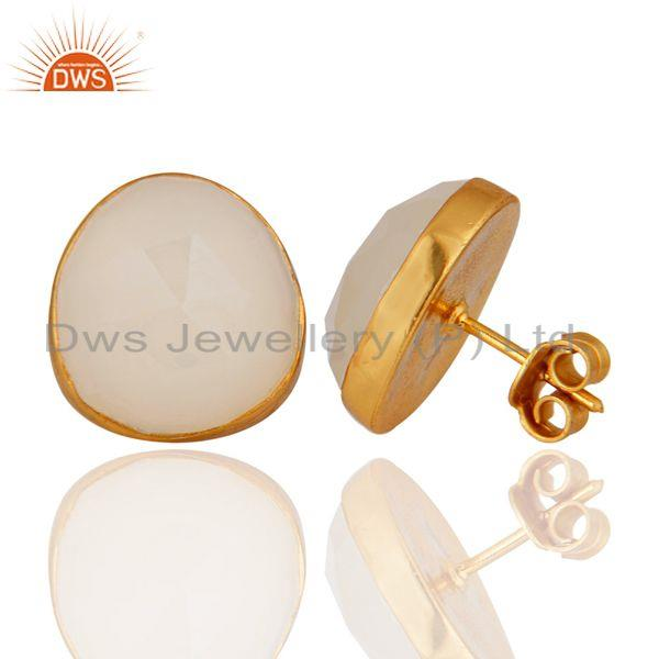 Exporter 24K Gold Plated Sterling Silver Faceted White Moonstone Womens Stud Earrings