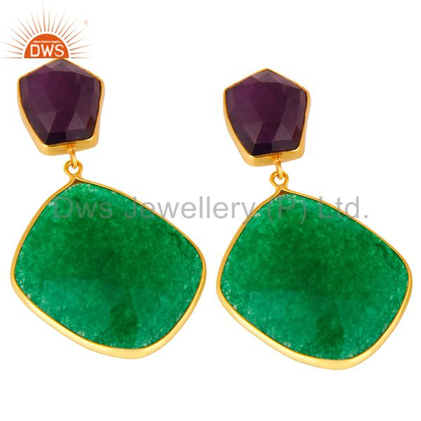 Exporter 18K Gold Plated Sterling Silver Green Aventurine And Amethyst Dangle Earrings