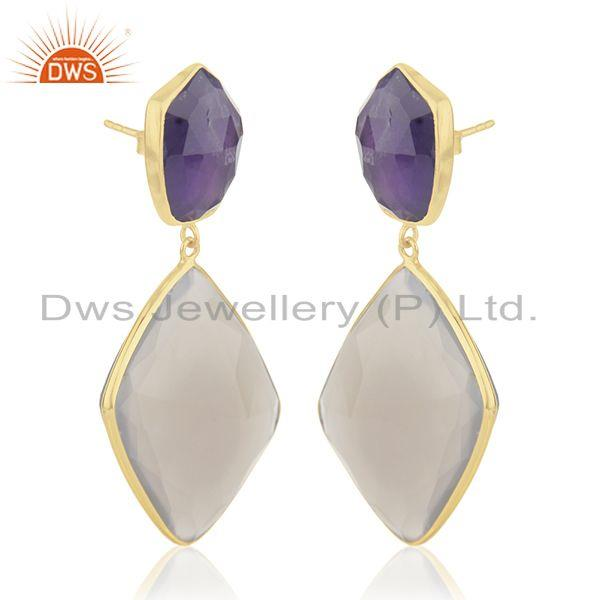 Exporter Multi Gemstone 925 Sterling Silver Gold Plated Drop Earrings Wholesale Suppliers