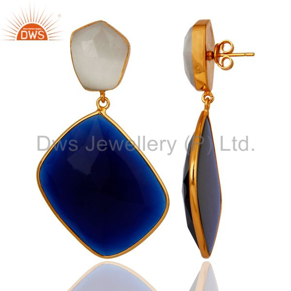 Exporter 18K Gold Plated Sterling Silver Blue Corundum & White Moonstone Dangle Earrings