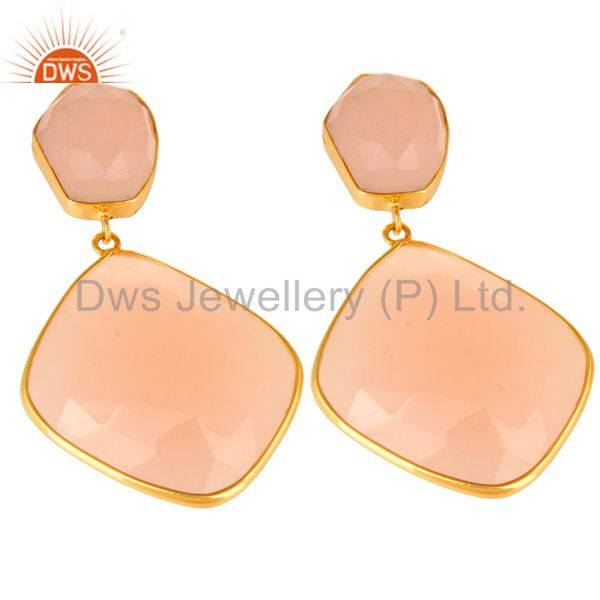 Exporter Rose Chalcedony Gemstone Gold Plated Handmade Brass Fashion Earirngs