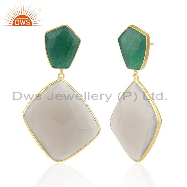 Exporter 925 Silver Gold Plated Multi Gemstone Earring Jewelry Manufacturer for Designers
