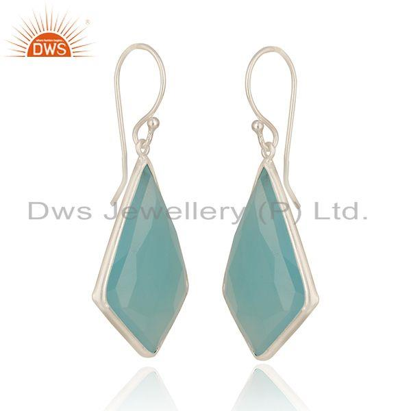 Exporter Chalcedony Gemstone Fine Sterling Silver Earrings Manufacturer India