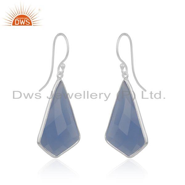 Exporter Blue Chalcedony Gemstone Gold Plated 925 Silver Earrings Suppliers