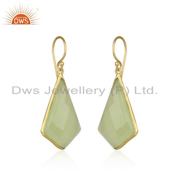 Exporter Gold Plated 925 Silver Chalcedony Gemstone Earring Manufacturer