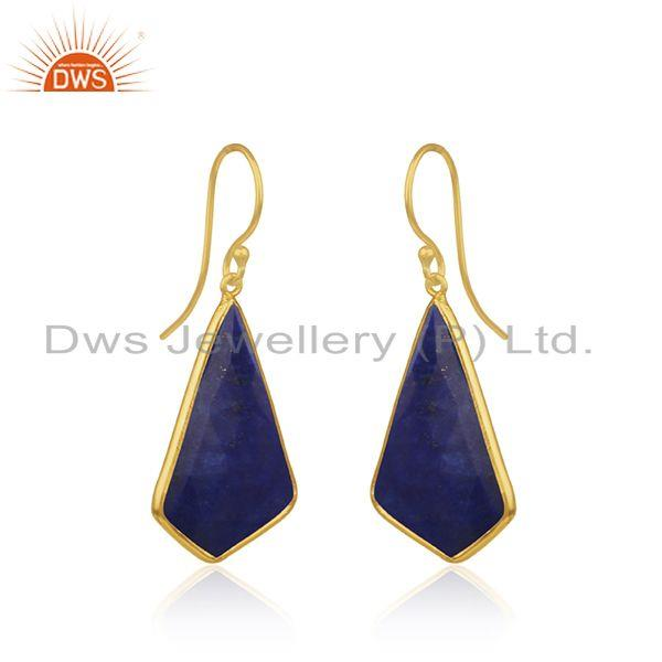 Exporter Lapis Lazuli Gemstone Gold Plated 925 Silver Drop Earrings Suppliers