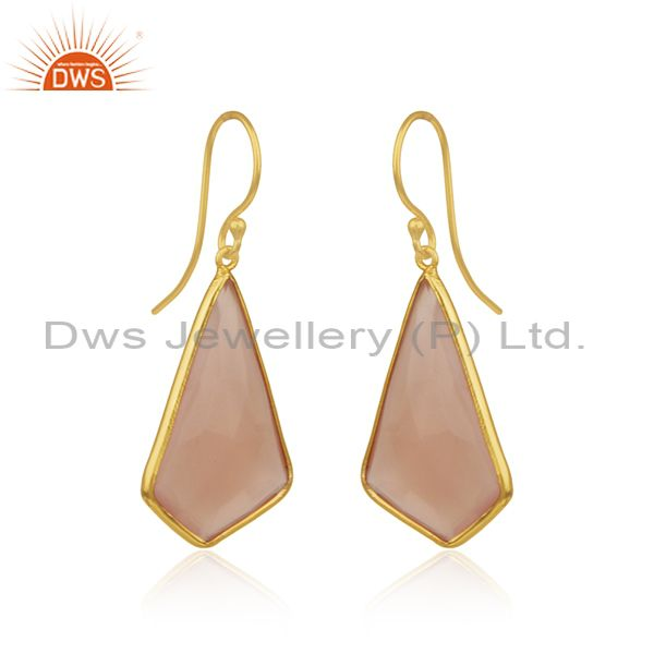 Exporter Rose Chalcedony Gemstone Gold Plated 925 Silver Earrings Wholesaler