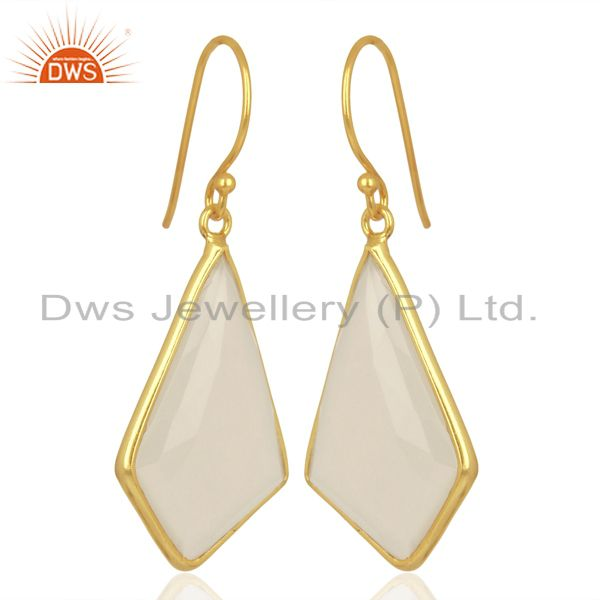 Exporter Dyed White Chalcedony Bezel Set Sterling Silver 18K Gold Plated Dangle Earrings