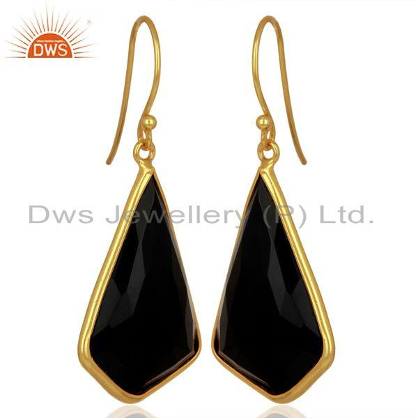 Exporter Black Onyx Bezel Set Sterling Silver 18K Gold Plated Dangle Earrings