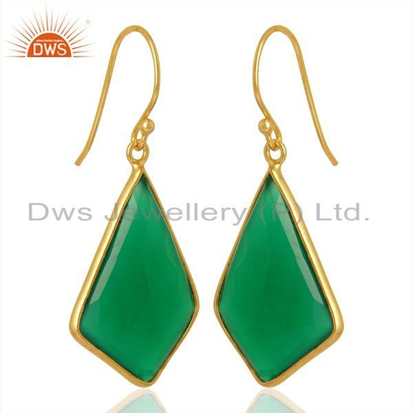 Exporter Green Onyx Bezel Set 925 Sterling Silver 18K Gold Plated Dangle Earrings