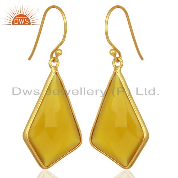 Exporter Dyed Yellow Chalcedony Bezel Set Sterling Silver 18K Gold Plated Dangle Earrings