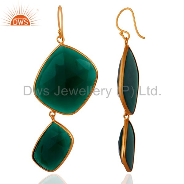 Exporter 18k Yellow Gold Plated Sterling SIlver Abstract Green Onyx Gemstone Earrings
