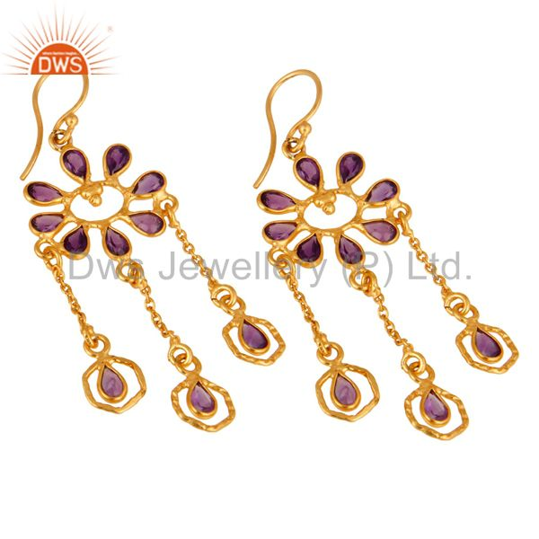 Exporter Handmade Sterling Silver Amethyst Gemstone Chandelier Earrings With 18K Plated