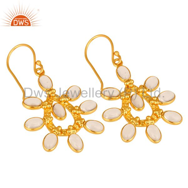 Exporter Handmade Crystal Quartz 14K Yellow Gold Plated Over Brass Fashion Earrings