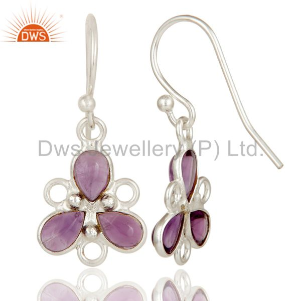 Exporter Solid 925 Sterling Silver Amethyst Handmade Bezel Set Earrings Jewellery