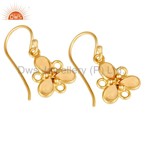 Exporter Handmade 925 Sterling Silver Citrine Gemstone Earrings With 18K Gold Plated