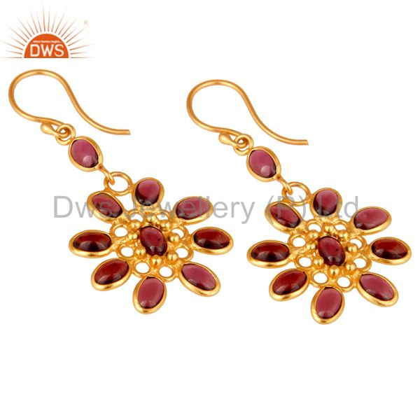 Exporter Handmade 925 Sterling Silver Garnet 22k Gold Plated Designer Gemstone Earrings