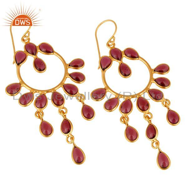Exporter Handmade Natural Garnet Gemstone 925 Sterling Silver Earring With Gold Plated