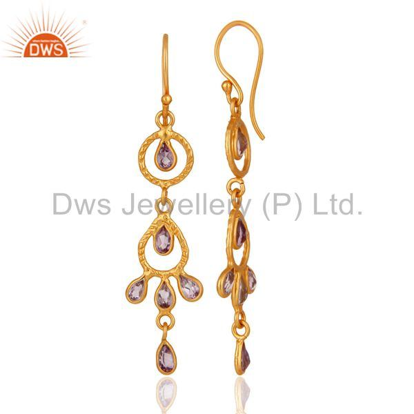 Exporter Handmade 925 Sterling Silver Amethyst Gemstone Earring With 18K Gold Plated