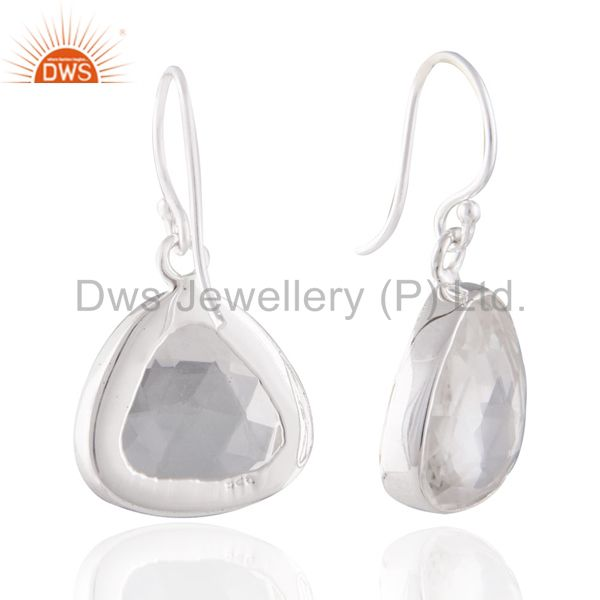 Exporter Natural Rock Crystal Quartz 925 Sterling Silver Women Fashion Earring Jewelry