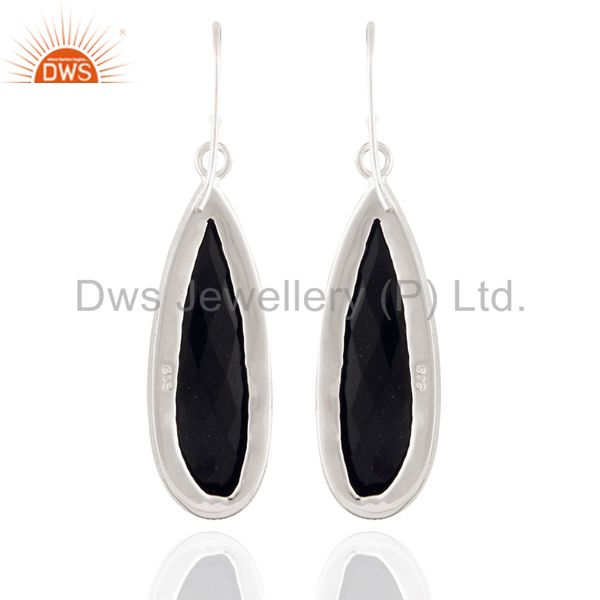 Exporter Natural Semi Precious Stone Black onyx Sterling Silver Dangle Earrings Jewelry