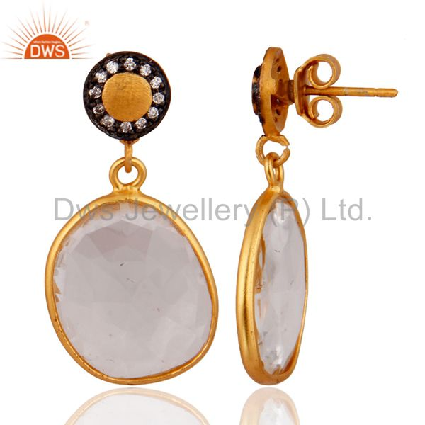 Exporter Designer 18k Gold Plated 925 Sterling Silver Clear Quartz Crystal Drop Earrings