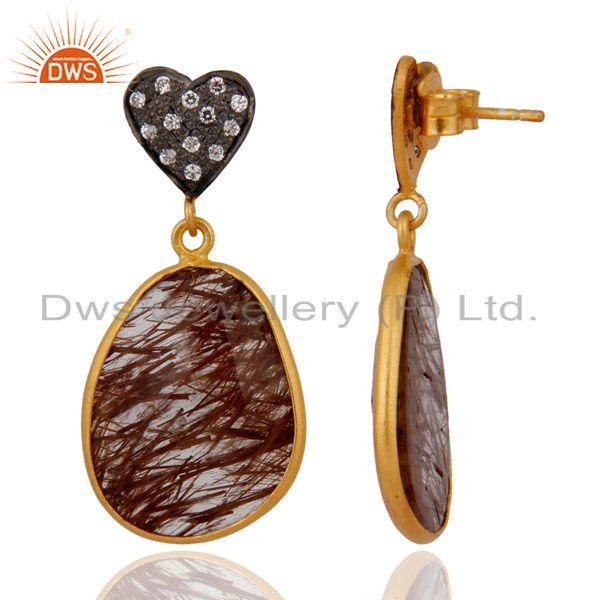 Exporter 18k Gold Plated 925 Sterling Silver Rutilated Quartz Earring With Cubic Zirconia